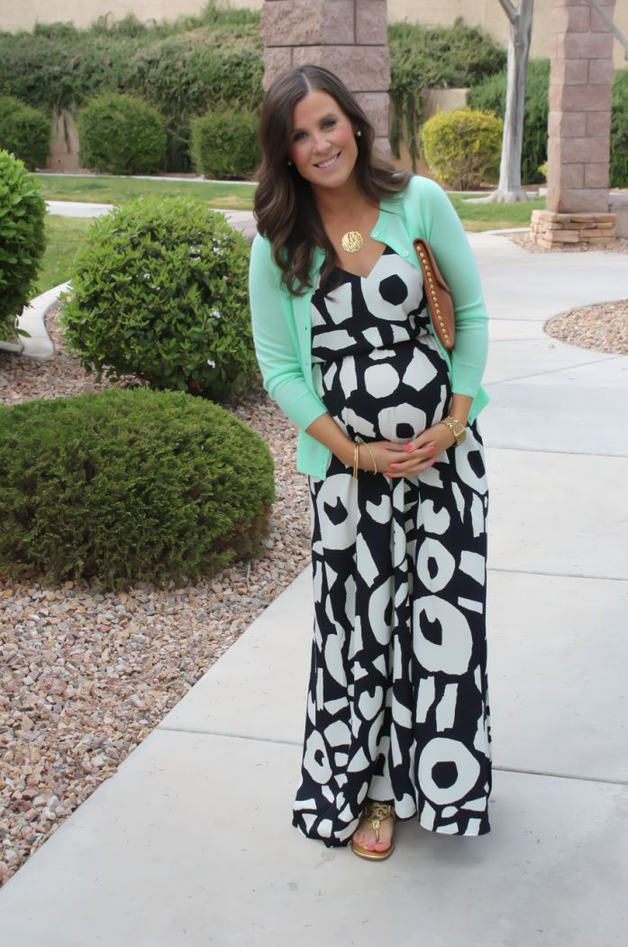 Not sure I like this exact print but cute maternity idea