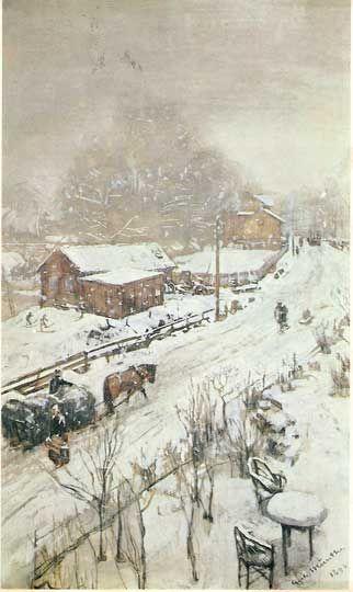 Gerhard Munthe. Street with snow, Sandvika 1890.