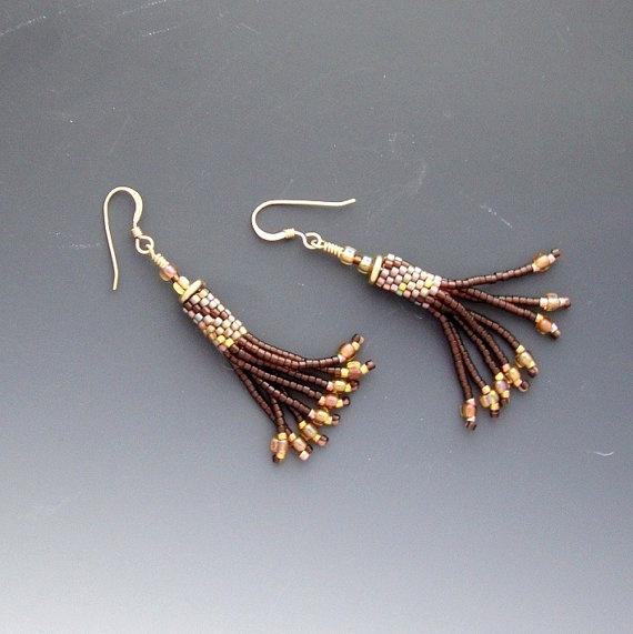Delica Beaded Bead Earrings Fringe Golds by CalliopeAZCreations, $28.00