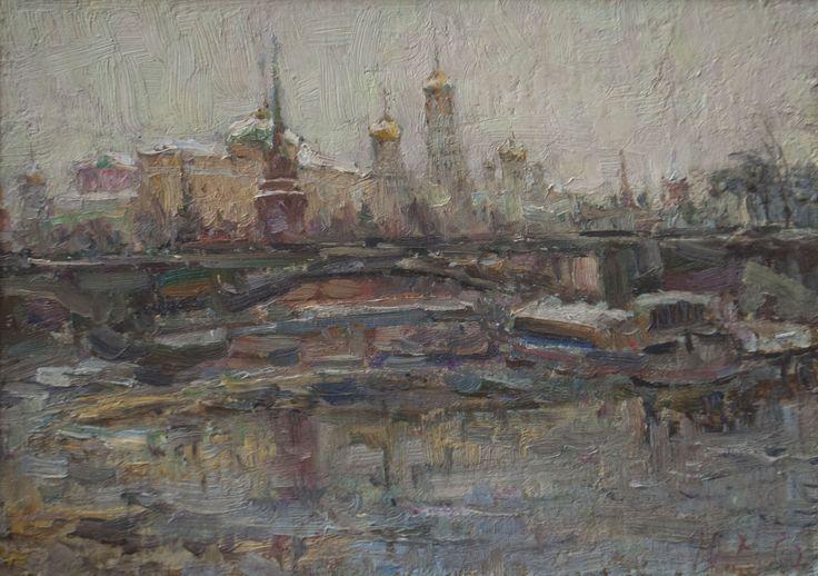 "Malanenkov Yuriy  ""Moscow River"". Oil on canvas 35х50 cm 2006."
