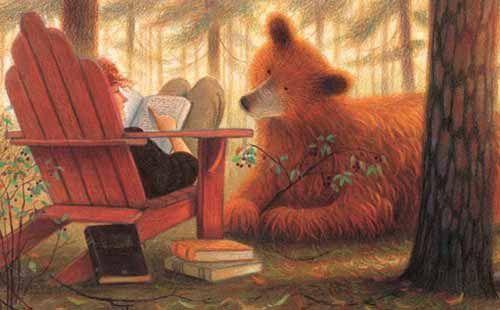 """Ilustración de Jim La Marche para """"El oso que amaba los libros"""""""