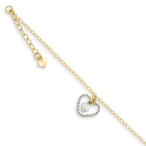 "14K Two-tone Twisted & Diamond Cut Hearts w/ 1in Ext Anklet Length 9"" Jewelry Adviser Bracelets. $110.52. 14K Gold. 30 Days Returns. Free Gift Box. Up to 60% off Retail Prices. Save 60%!"