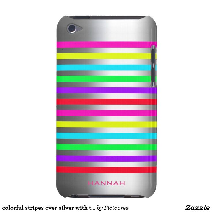colourful stripes over silver with text iPod touch cases