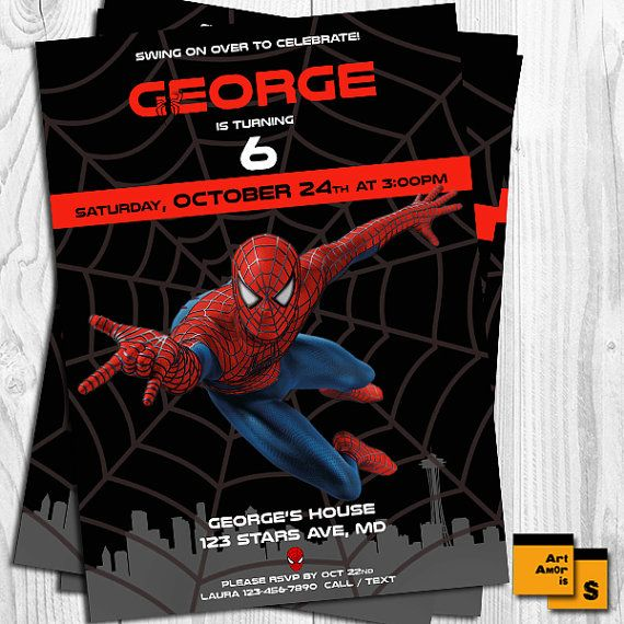Spiderman invitation spiderman birthday invitation by ArtAmoris
