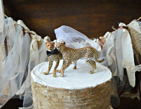 Topper-lion-safari-cat-jungle-zoo-lioness-cub-bride-groom-woodland-Mr guépard-gâteau de mariage et mariage de Mme-chat amoureux-chat famille-animal-chat