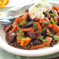 Roasted Root Vegetables with Lentils and Ricotta Cheese. Yum: Fun Recipes, Roots, Food, Root Veggies, Healthy, Roasted Root Vegetables, Ricotta Cheese, Lentils