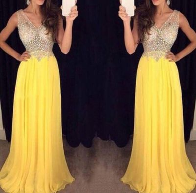 Crystal Beaded Illusion Bodice Prom Dress, Yellow Chiffon Prom Dresses Online, Sexy V-neck Prom Dresses,Sweetheart prom dress