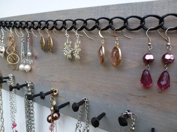 FREE SHIPPING! Jewelry Organizer Necklace Holder Earring Storage Display Wall Hanging Rack/ Reclaimed Wood & Rustic Nails in Weathered Gray