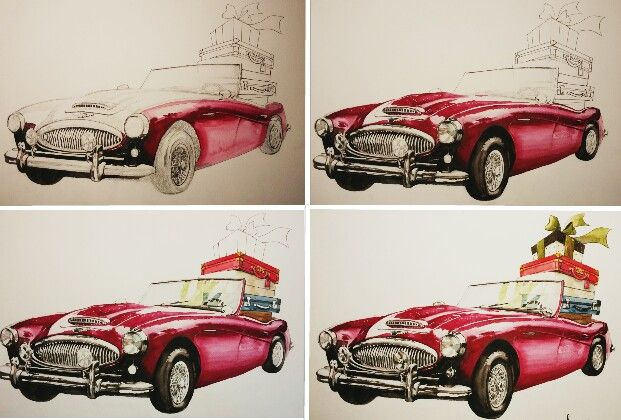 watercolor car. by mirim.