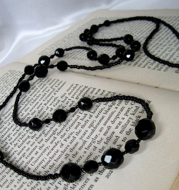 Downton Abbey Inspired Black Glass Crystal Long Necklace Lady Mary Art Deco Edwardian Great Gatsby