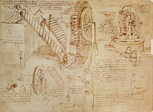 Some of Leonardo da Vinci's sketches from the Codex Hammer.