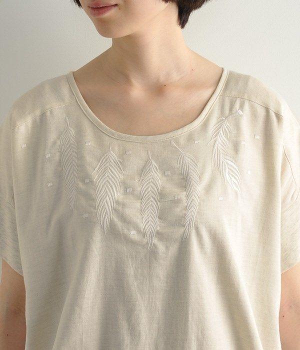 羽刺繍ワンピース(A・ナチュラル)
