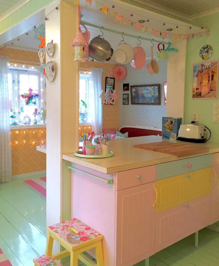 A Necco colored kitchen! Pastel colorful kitchen #diy #katealice