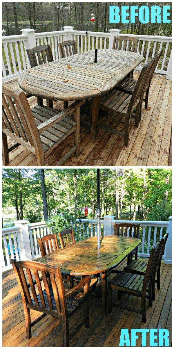 Teak Table Makeover Outdoor Table Decor Teak Table Outdoor Teak Table