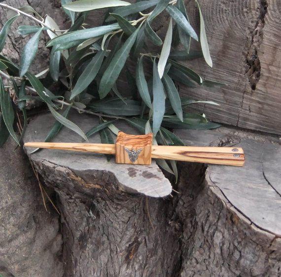 Olive Wood chopstick set with combined holder by ellenisworkshop