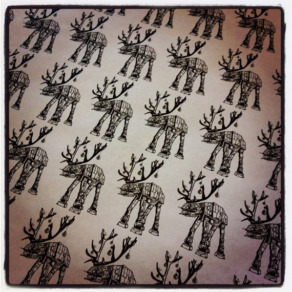 Star Wars ATAT Reindeer #wrapping paper by DoodleButton on Etsy, $7.50 #starwars #ATAT