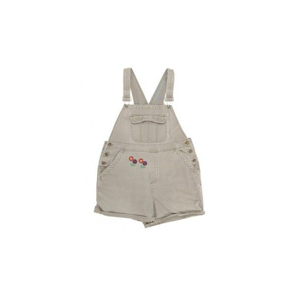 Daisy Patch Grey Denim Short Dungarees W34 Dungarees Rokit ❤ liked on Polyvore featuring shorts, dresses, one piece and wearable
