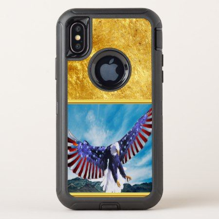 American flag Eagle flying in the sky gold foil tap/click to personalize or buy right now! a custom new apple I phone case comes in any size for any phone that means any brand as well #baldeagles #patrioticdesigns #Americanflag #4thOfJuly