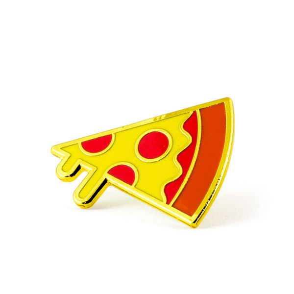"""Mmmmmm pizza Gold pin with colored enamel Rubber backing Measures 1"""" wide Made in the USA"""