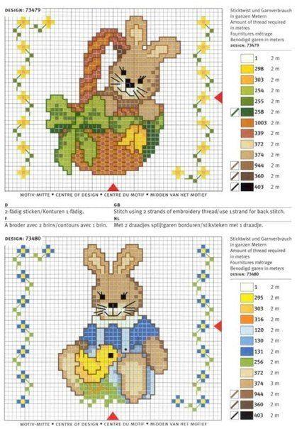 Bordados de conejos en punto de cruz09