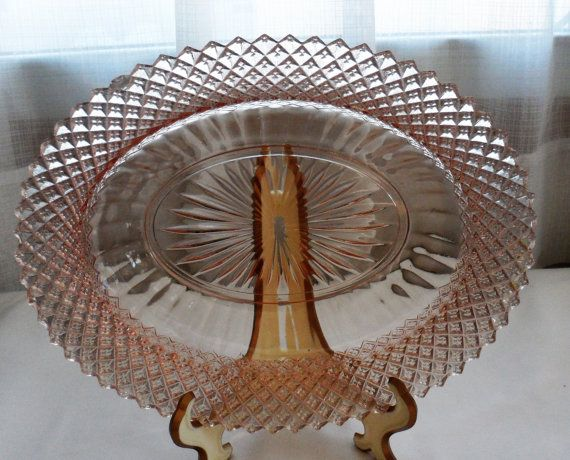 Vintage 1930s Hocking Depression Glass Miss America Line Oval Dish/Pink Diamond Cut with Starburst Center Serving Tableware Oval Shaped Dish
