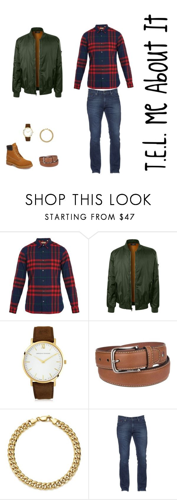 """""""Bomber x Plaid x Brown Accessories"""" by teawithiff on Polyvore featuring Burberry, LE3NO, Larsson & Jennings, Tommy Hilfiger, Bloomingdale's, Timberland, men's fashion and menswear"""