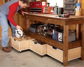 Add-on drawers for a work bench: this idea might work for a kitchen island too.
