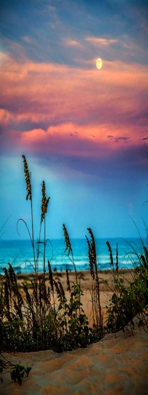 The Moon And The Sunset At South Padre Island Photograph