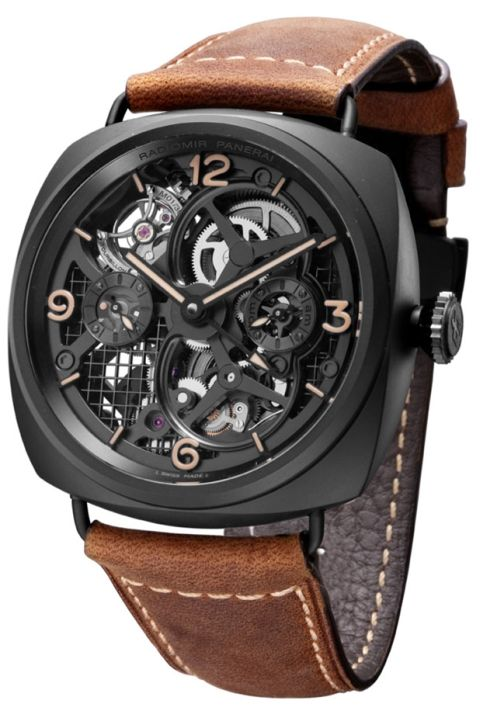 Panerai Radiomir Tourbillon GMT Ceramica Skeleton Watch (PAM348)