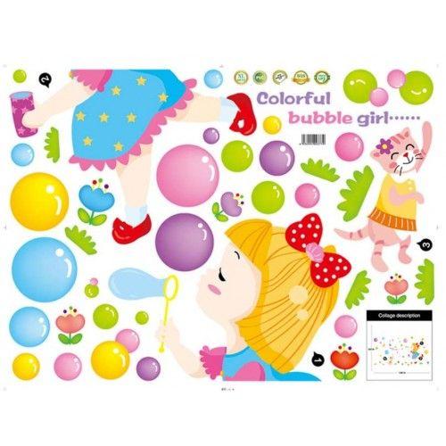 Kislány szappanbuborékok falmatrica gyerekszobába