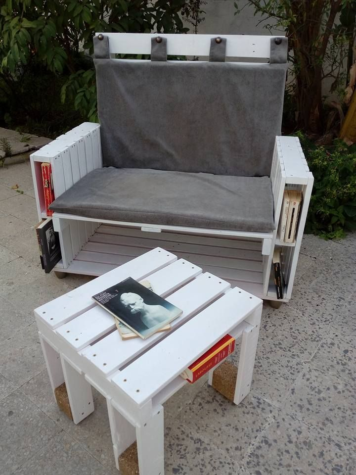 #Outdoor, #PalletBench, #PalletChair, #PalletGardenSet, #PalletTable, #RecyclingWoodPallets This Pallet Book-Bench and Petite Coffee Table took almost a month to make, as it was my first pallet project. I took my time to get the proportions right for my family, and didn't pressure myself. But, I wanted to enjoy the process of discovery