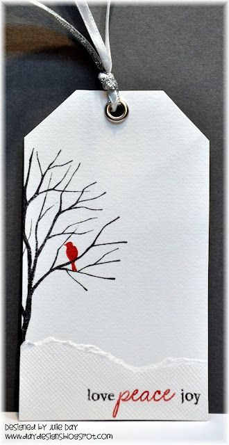 """Christmas Tag. Really like the """"lone red cardinal on bare branches"""" winter theme. I once decorated someone's apartment with light gray walls, dark gray trim, black furniture, and red accents. Have always liked that combination."""