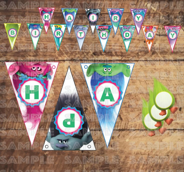 TROLLS FLAG BANNER & Food Place cards, trolls birthday party, trolls decoration, trolls birthday, trolls party, blue, pink, poppy by TRUSTITI on Etsy