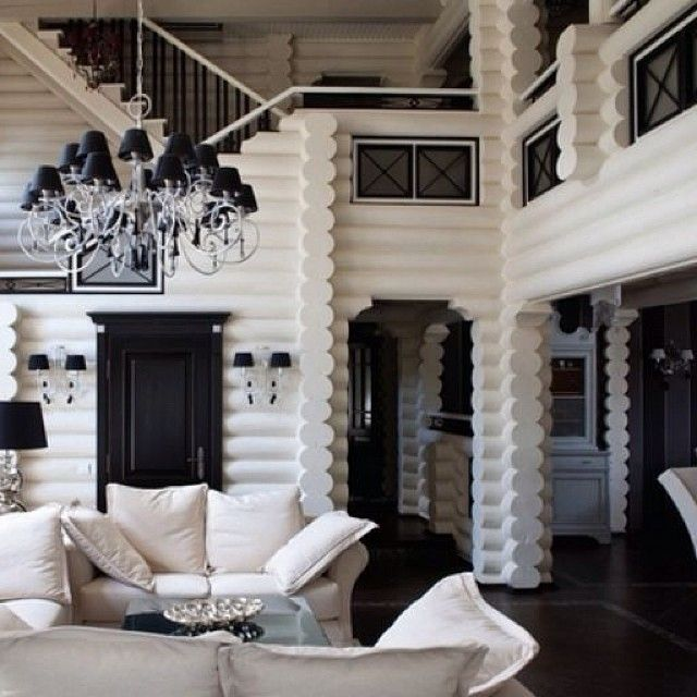 black & white glam log cabin. This would be amazing!! And add those gold tree stumps I've seen for some extra glam!