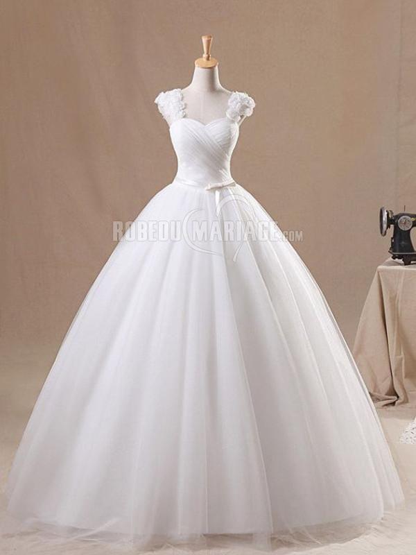 Col en coeur robe de mariée princesse simple en organza avec bretelle [#ROBE2012387] - robedumariage.com