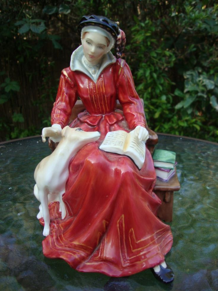 Royal Doulton Figurine, Lady on Bench w Books, and Dog.