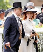 1293-ASCOT, UNITED KINGDOM - JUNE 17: Prince Andrew, Duke of York and Sarah Ferguson, Duchess of York attend day 4 of Royal Ascot at Ascot Racecourse on June 17, 2016 in Ascot, England. (Photo by Max Mumby/Indigo/Getty Images)