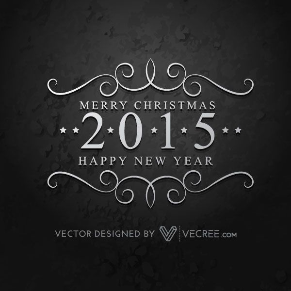 Floral Design 2015 Happy New Year Vector