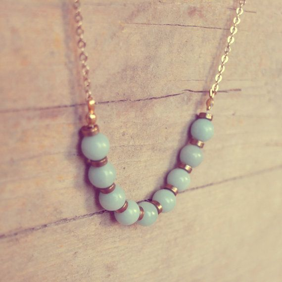 Mint necklace with gold chain  NINA by AMEjewels