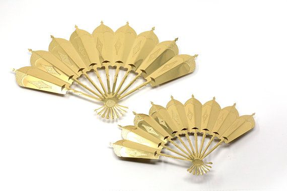 Vintage Gold Metal Fan Wall Art By Home Interior Wall Fans Vintage Wall Art Metal Fan
