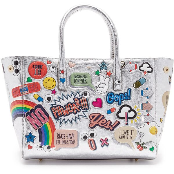 Anya Hindmarch Ebury Small Allover Wink Stickers Tote ($2,500) ❤ liked on Polyvore featuring bags, handbags, tote bags, white handbags, tote hand bags, white tote bag, anya hindmarch tote bag and silver tote handbags