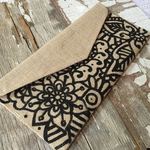 Handpainted Bohemian Henna Pattern Natural Jute Clutch Bag by MWstyle