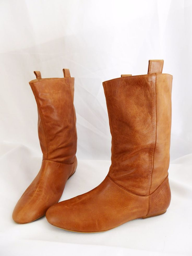 TONY BIANCO size 8.5 caramel leather pull on boots