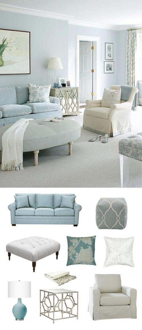A traditional pastel blue living room area.