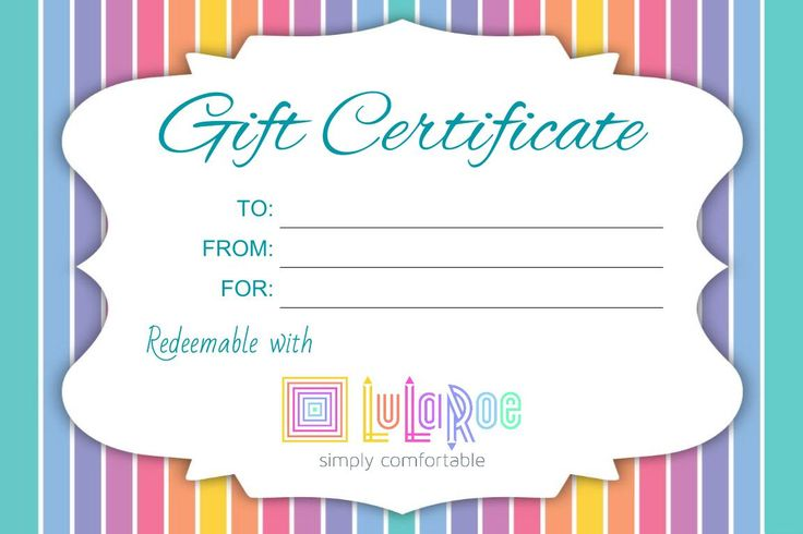 Gift Certificates Personalized Print Your Own GFC06   Lularoe ...