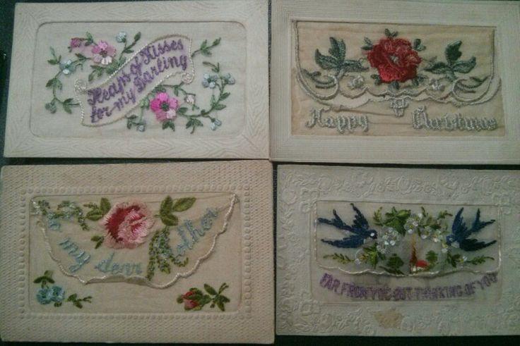 Embroidered postcards. 1918 @Beth J