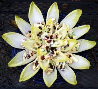 Belgian Endive stuffed with Honeycrisp Apples, Goat Cheese, and Walnuts