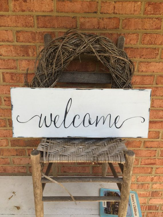 Welcome Wooden Sign For Front Porch Home Decor Farmhouse And Vintage Style  Hand Painted And Lightly