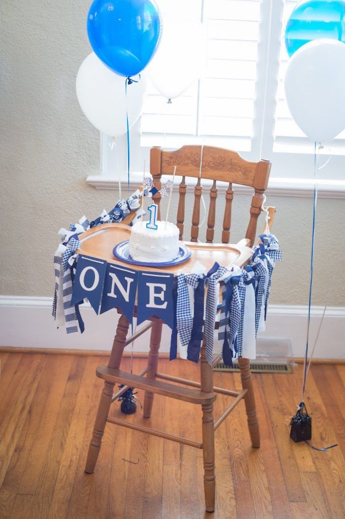 Blue & white high chair banner from a Time Flies Vintage Airplane 1st Birthday Party on Kara's Party Ideas | KarasPartyIdeas.com (19)