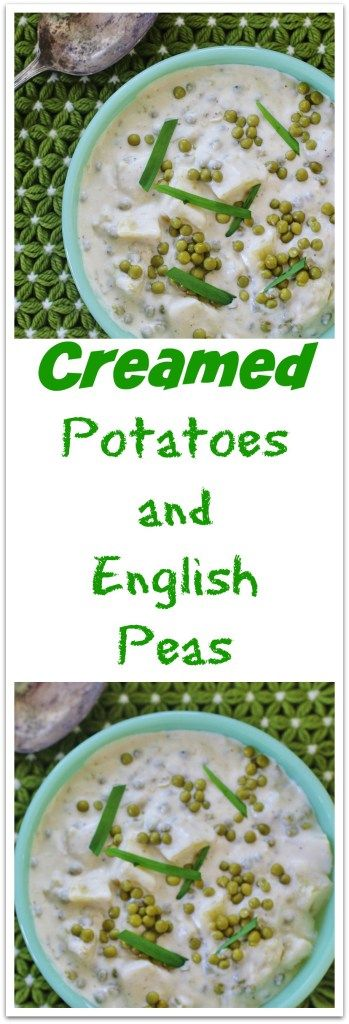 Creamed Potatoes and English Peas. Yukon gold potatoes and tender English peas cooked in a creamy white sauce.